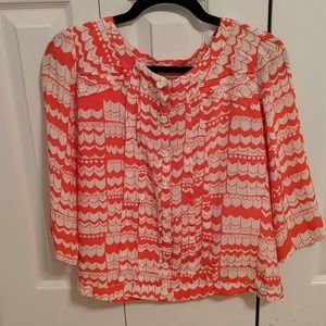 Coral silk blouse size 6